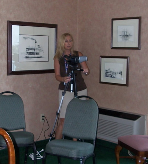 Dawn Currier setting up the video cam
