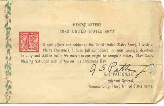 Signed document by General George Patton