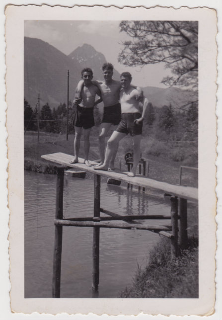 Time for a swim near Saltzburg Germany - left to right T4 Roxton, Pfc Seitz, Pfc Heiner