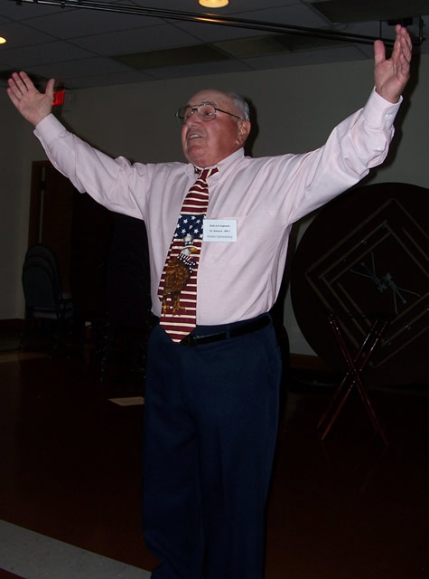 Wally Karrenberg doing his traditional song and dance