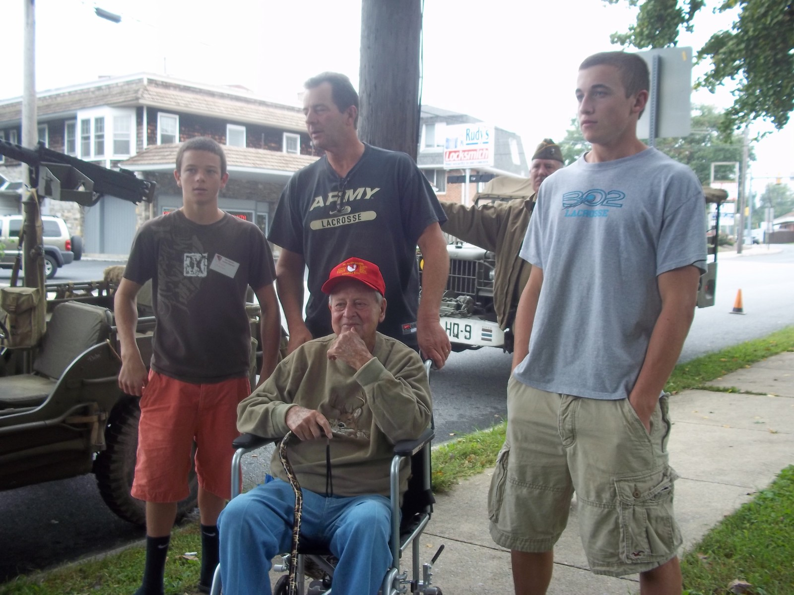 veteran's park - Dylan, Russ and Clay Johnson - seated Iradell Gaylen.JPG