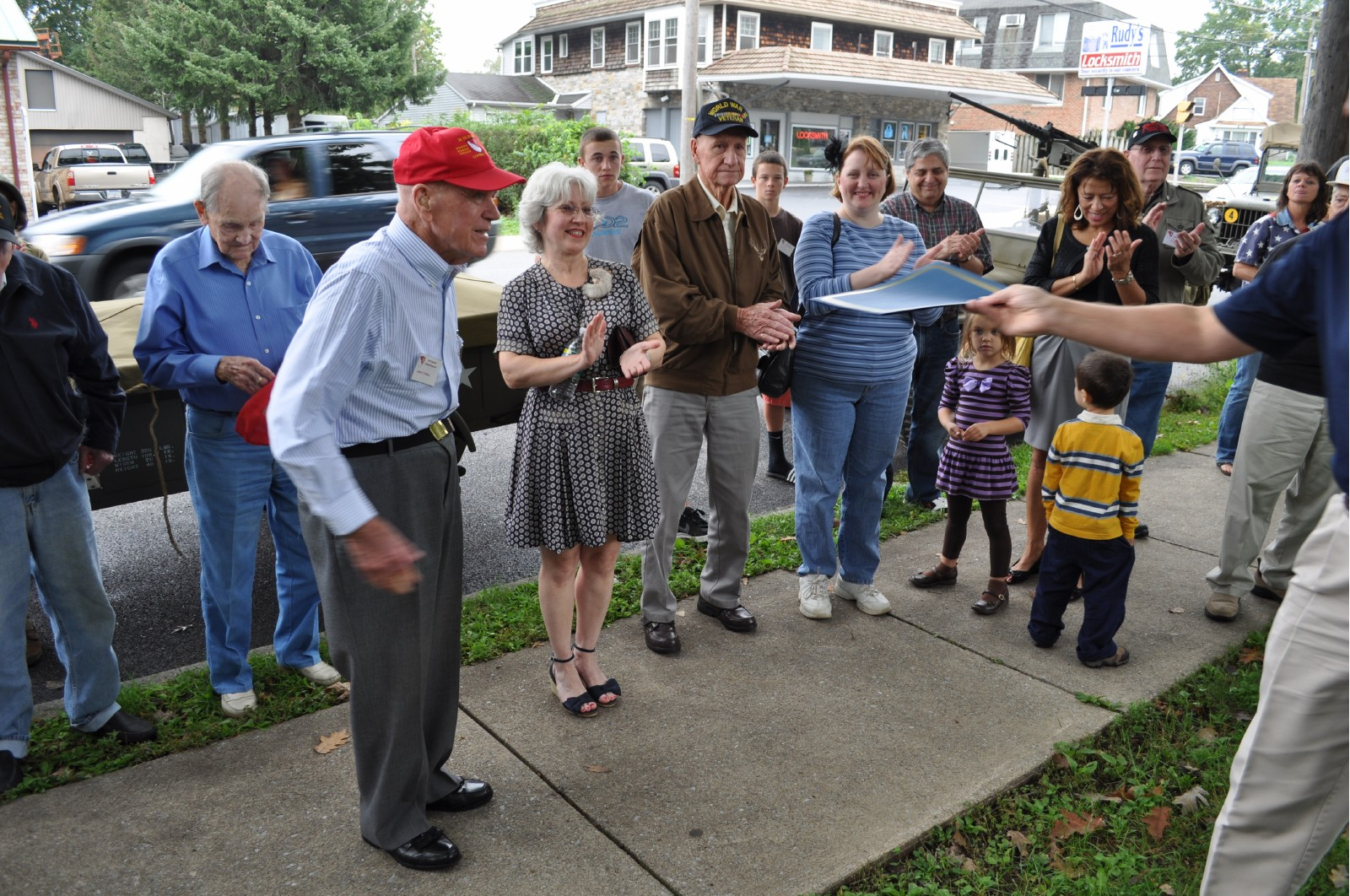 veteran's park applause - John received proclamation